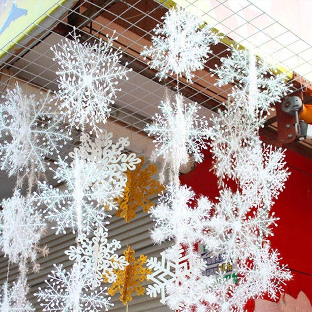 6 piece white snowflakes christmas decorations supplies hanging ornaments amazoncouk kitchen home