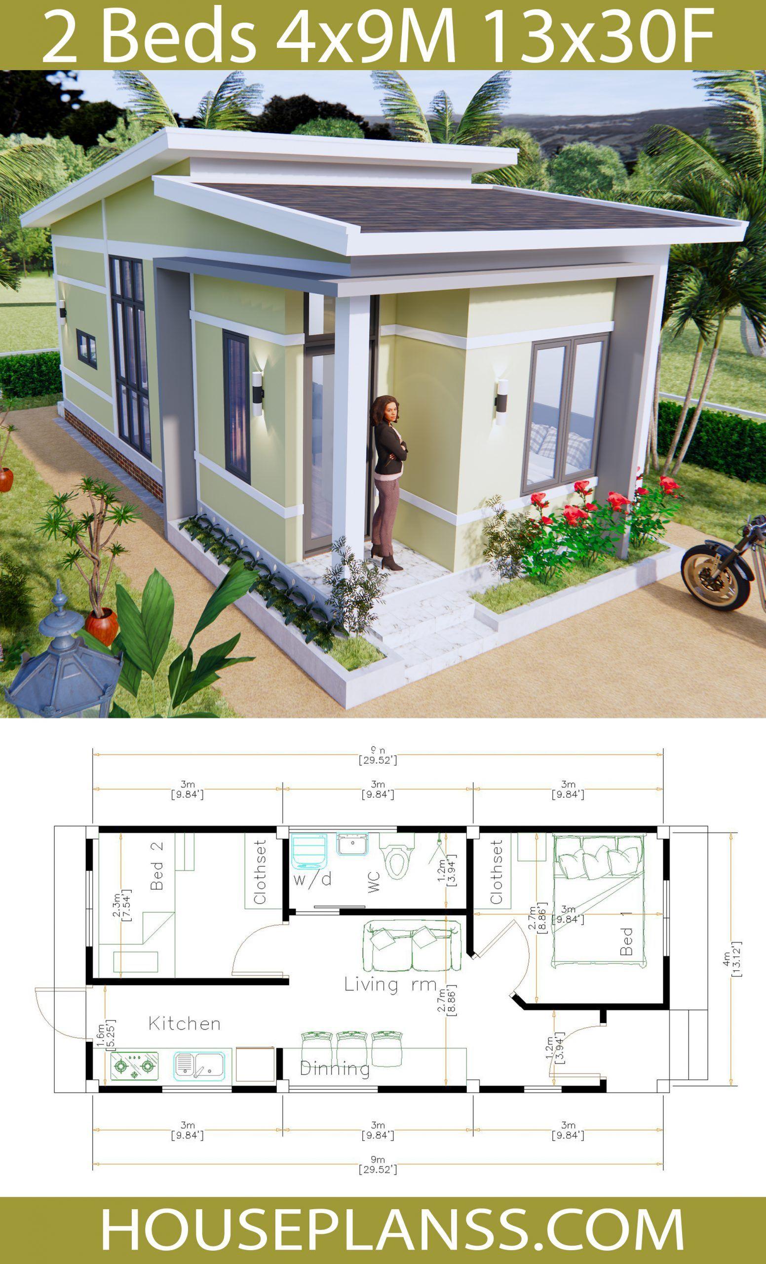 Simple House Plans 4x9 Meters 36sq M House Plans 3d In 2020 Model House Plan House Plans Simple House Plans