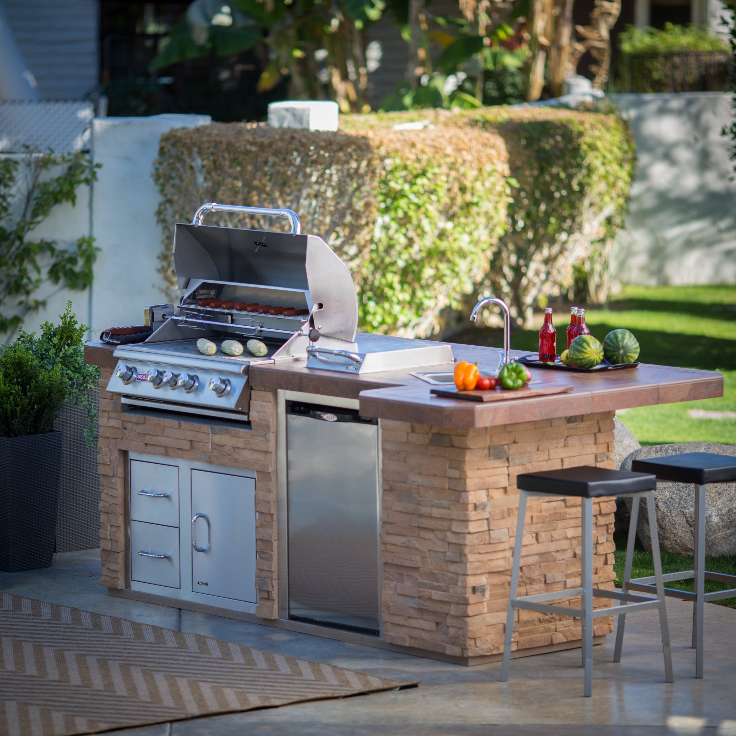 this heavy duty galvanized steel framed grill island makes the perfect accent for your backyard on outdoor kitchen island id=39977