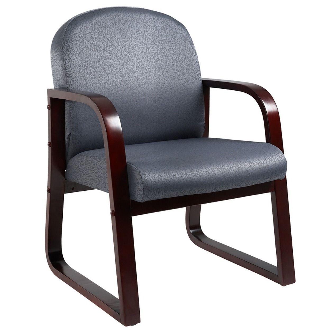 Boss Sled Base Mahogany Wood Reception Chair Office