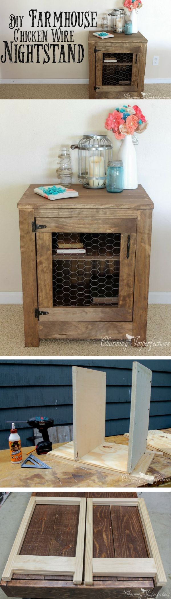 Check out how to build this #DIY #farmhouse nightstand #HomeDecorIdeas #RusticDecor #BedroomDecor @istandarddesign