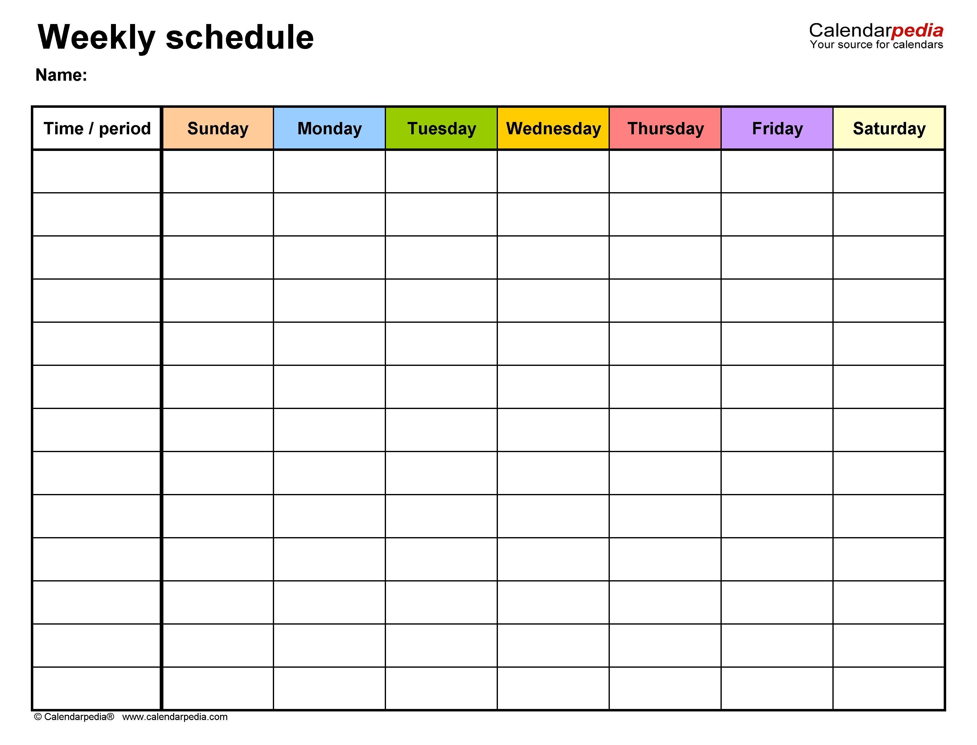 Effective Empty Monday Through Sunday Schedule