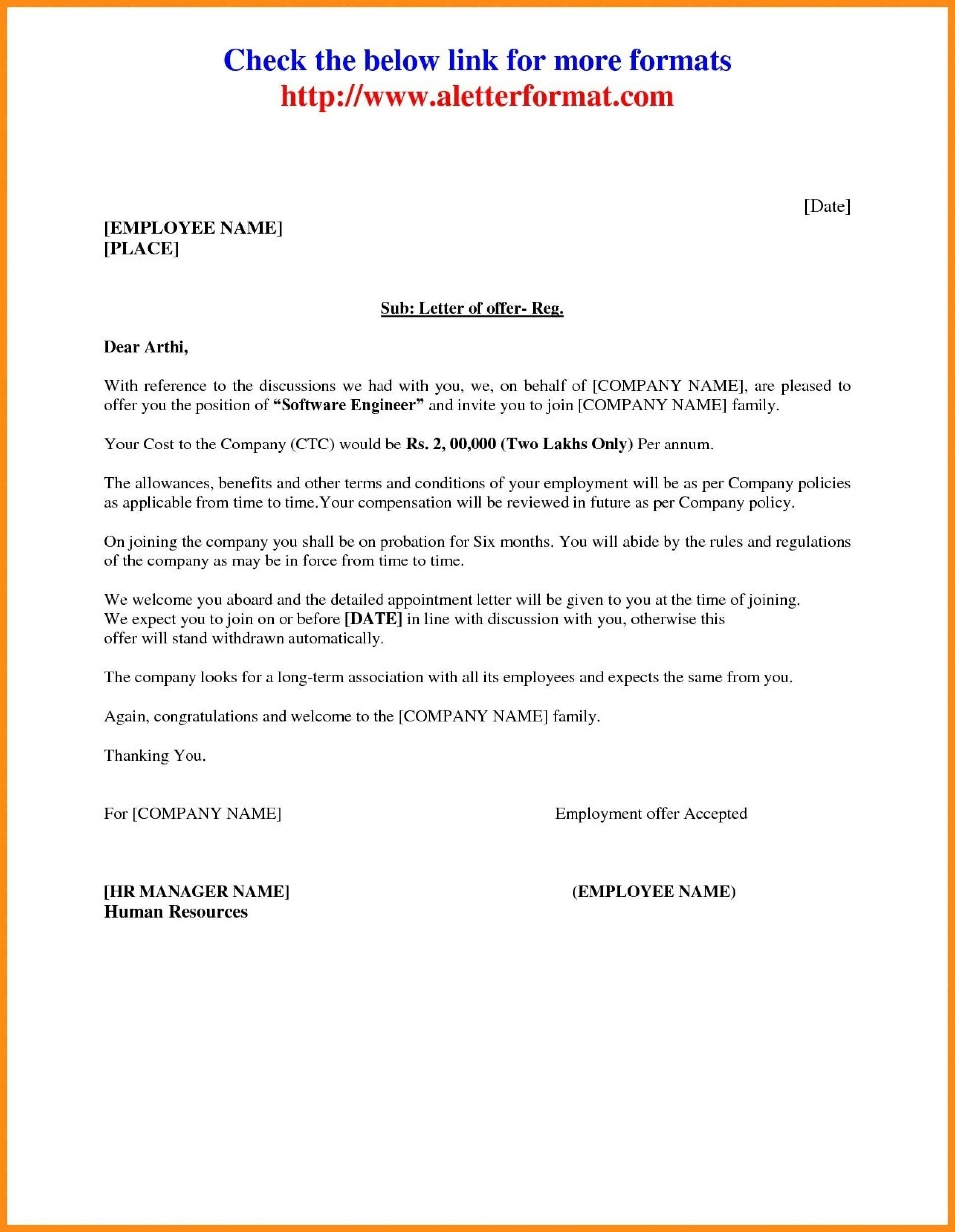 Download Inspirational Job Offer Letter Sample From