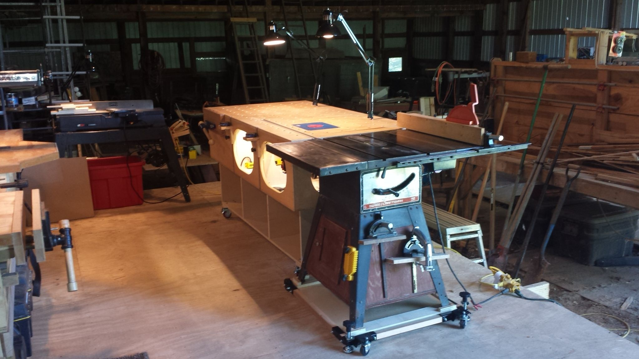 Modified Paulk Out Feed Table On Casters With Vintage Craftsman Tablesaw 113 299040 On Harbor Freight Mobile Base Vintage Craftsman Table Saw Drafting Desk