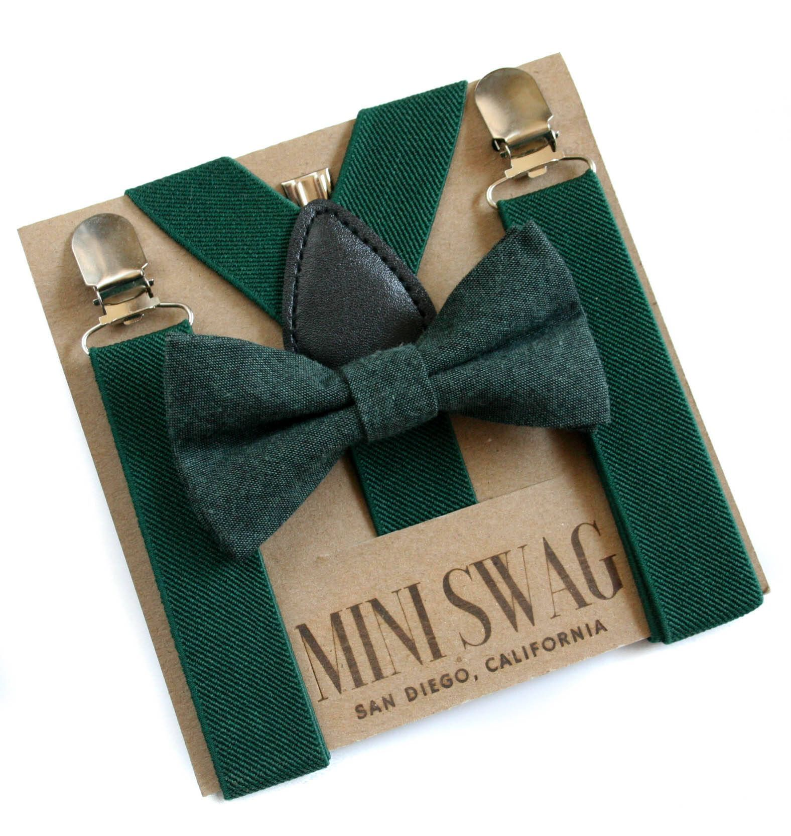 Dark Green Suspenders and Green Boys Bow Tie Baby Christmas Outfit