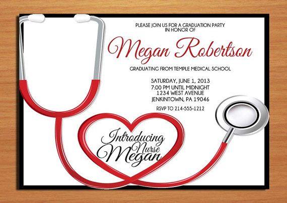 Stethoscope Nurse Graduation Invitation