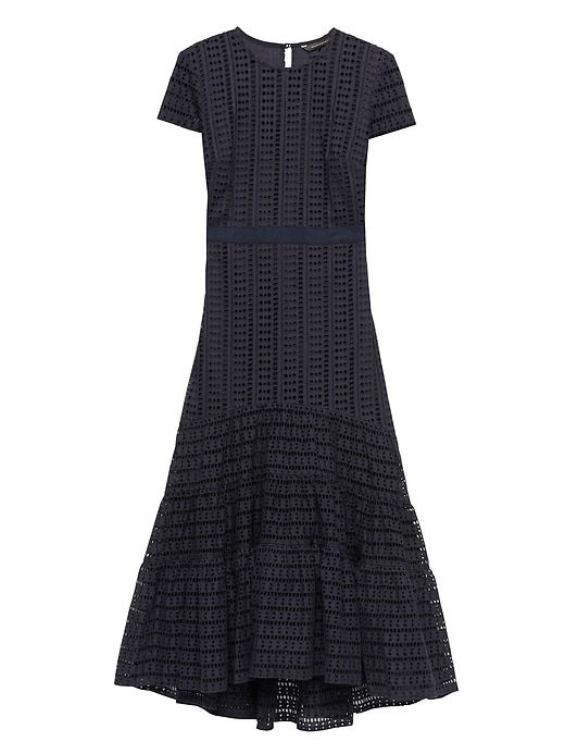 eb6a052eaba0 Banana Republic Womens Eyelet Midi Dress Navy