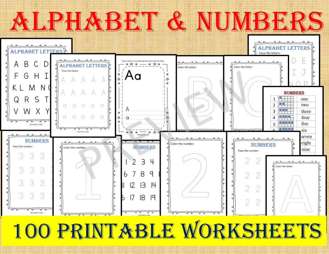 Alphabet Amp Numbers 100 Worksheets Instant