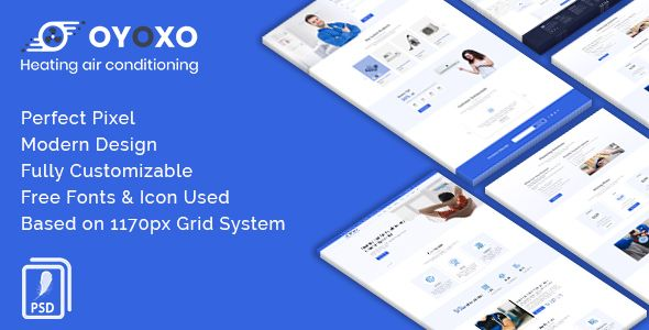 Oyoxo Heating Air Conditioning Services Psd Template