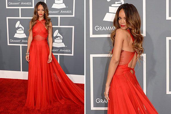 rihanna vestido rojo transparente GRAMMY ESPALDA - Buscar con Google