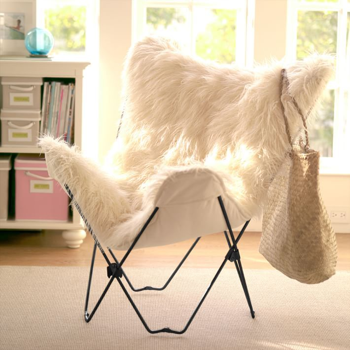 Ivory Furlicious Faux Fur Butterfly Chair Furniture