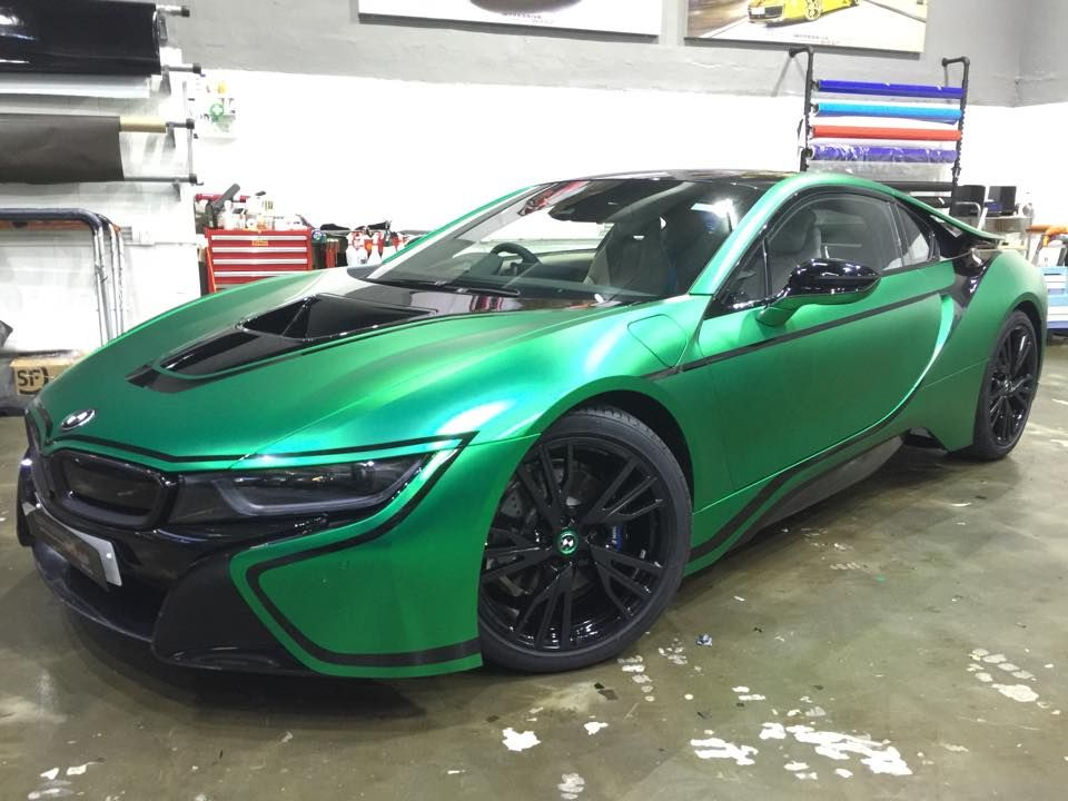Bmw I8 Wrapped In Matte Green Chrome Cars Boats Pinterest Bmw