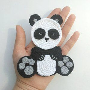 PATTERN Panda Applique Crochet Pattern PDF Bear Crochet Applique Valentine's Day Gift Crochet Heart Motif Ornament for Baby for Blanket ENG #crochetbearpatterns