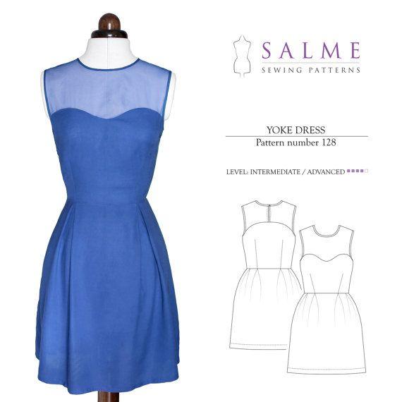 Yoke Dress PDF Sewing pattern by Salmepatterns on Etsy   patterns I ...