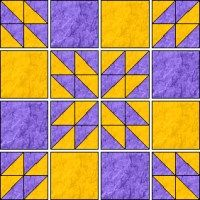 Half Square Triangle Hunter's Star Tuturial. Handy calculator to modify block sizes and quilt sizes. Demo to make 9 Hunter's blocks to make 36x36 quilt with 12 square blocks.