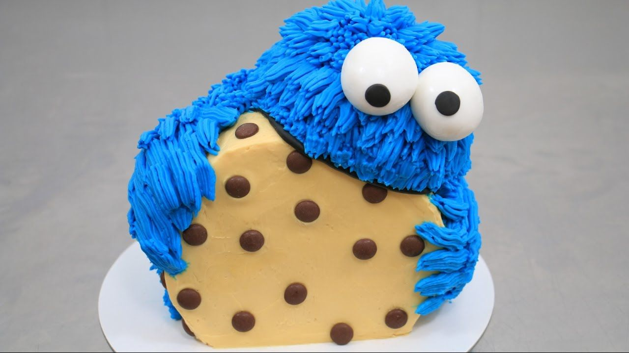 COOKIE MONSTER CAKE Buttercream Decorating How To Make by