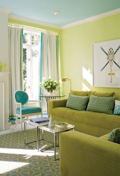 Lime Green Walls And Pale Tourquoise Ceiling Living Room Green