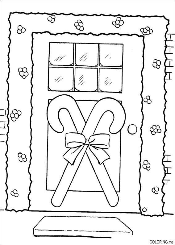 Door Coloring Page Coloring Books Christmas Coloring Pages