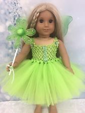 "Tinker Bell Dress and Wings for 18/"" Doll"