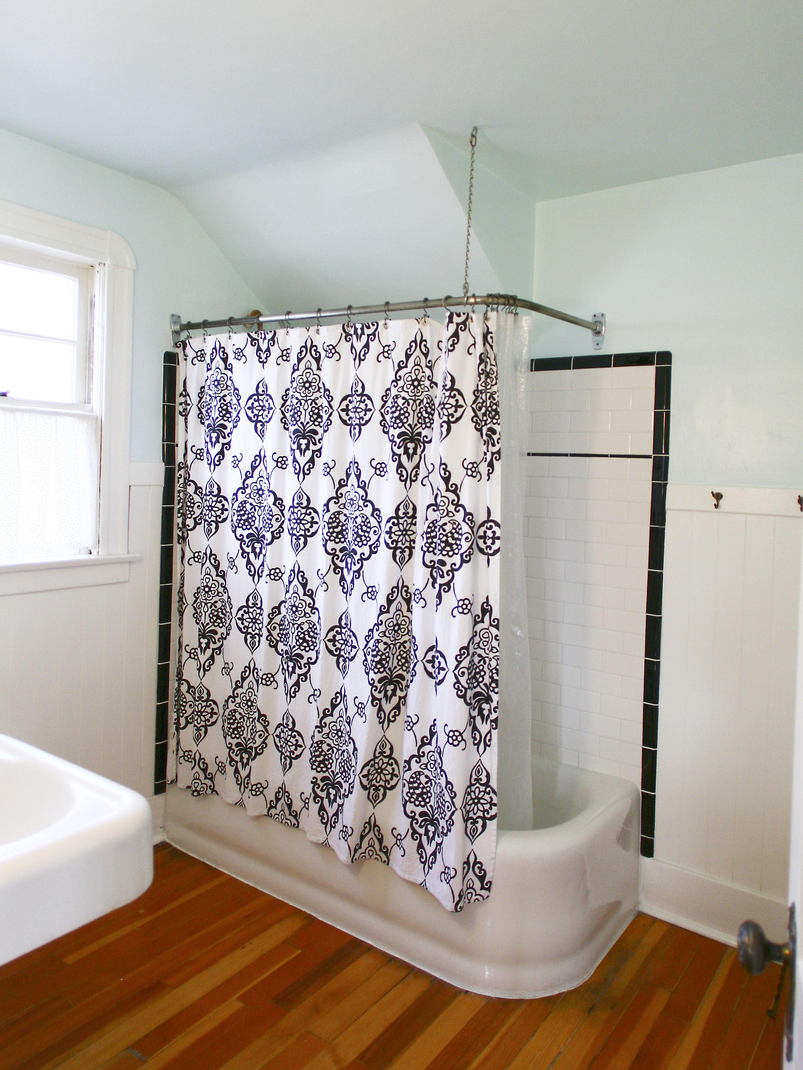 Tj Maxx Shower Curtains Black White Tile In An Historic Bathroom