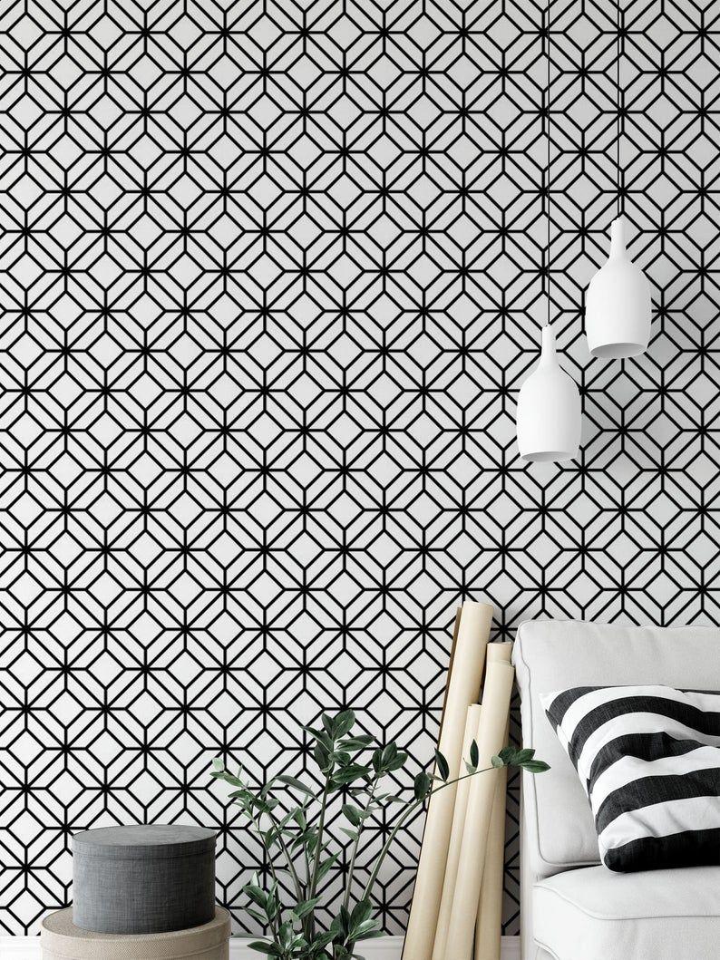 Geometric Wallpaper Removable Wallpaper Modern Wallpaper Etsy Modern Wallpaper Geometric Wallpaper Bathroom Wallpaper Modern
