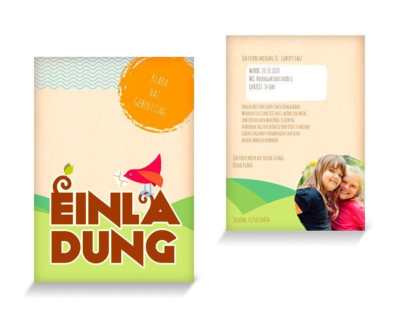 Vogel Einladungskarten Kindergeburtstag