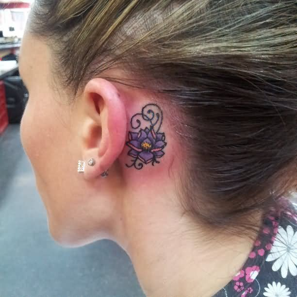 Lotus Flower Tattoo Behind Ear 20 Behind The Ear Tattoos For Girls