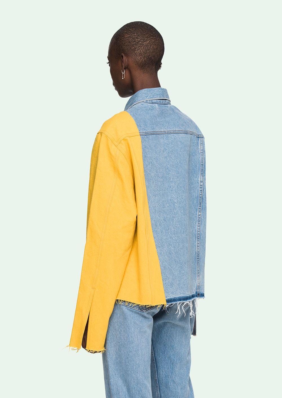 e3051dabb Off-White yellow sleeved Denim Jacket | F in 2019 | Denim, Denim ...
