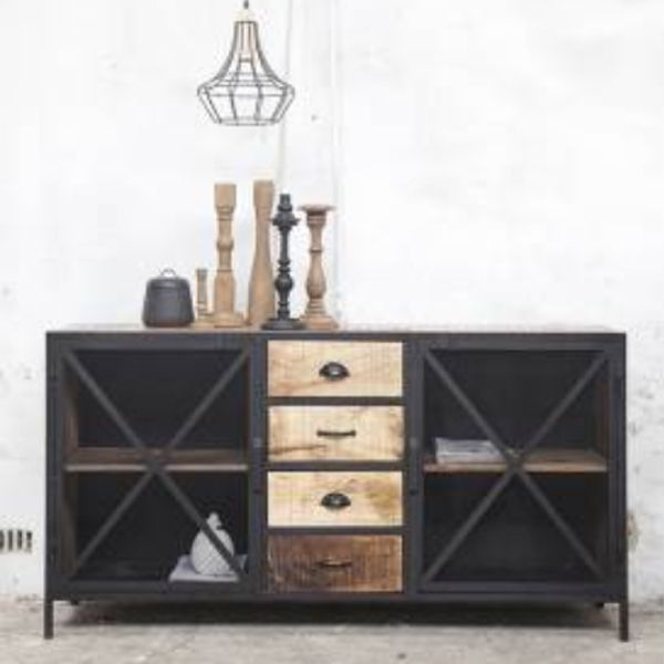 industriedesign kommode nori metall holz vor ort. Black Bedroom Furniture Sets. Home Design Ideas