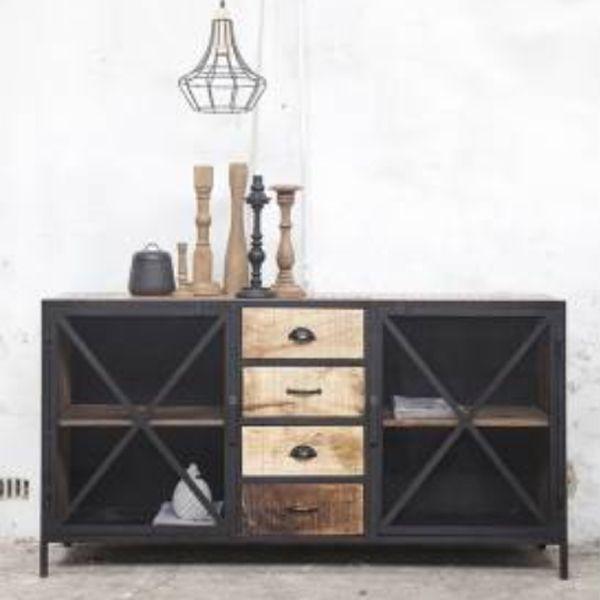 industriedesign kommode nori metall holz vor ort besichtigung in unserer ausstellung m glich. Black Bedroom Furniture Sets. Home Design Ideas