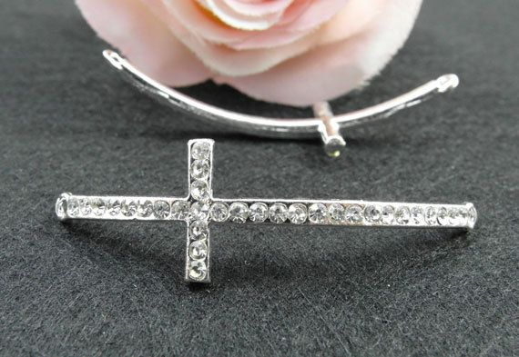 10pcs 15x54mm Antique Silver Plated Rhinestone Sideways Cross Charms Connector