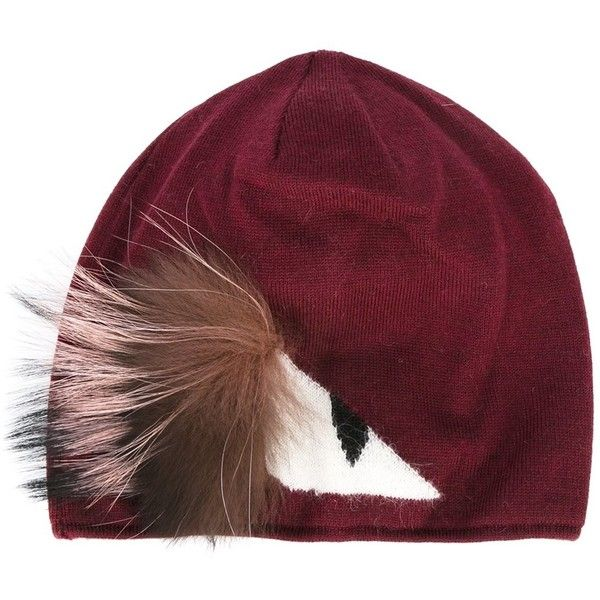 8949bc49 Fendi Monster Eye Beanie - Burgundy found on Polyvore featuring accessories,  hats, kirna zabete, fendi hat, beanie hat, burgundy beanie, beanie cap hat  and ...