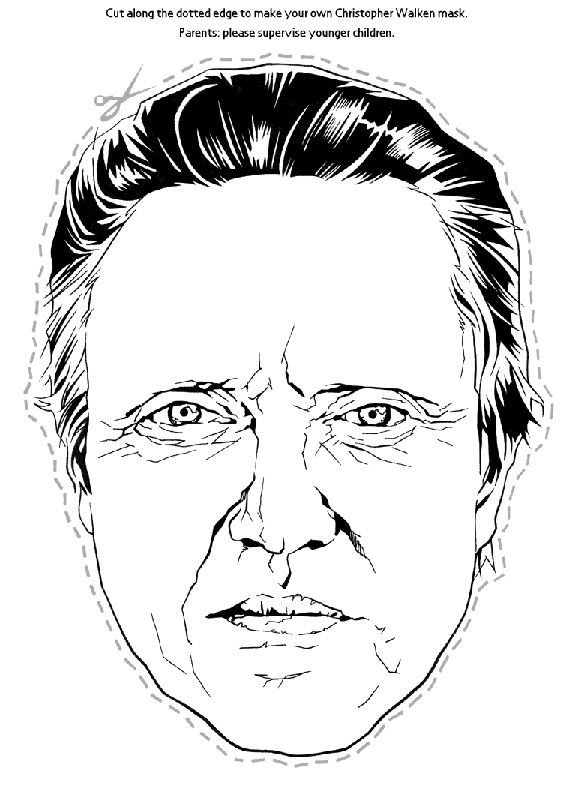 Christopher Walken Halloween cut out mask #whatiadded - paper face mask template