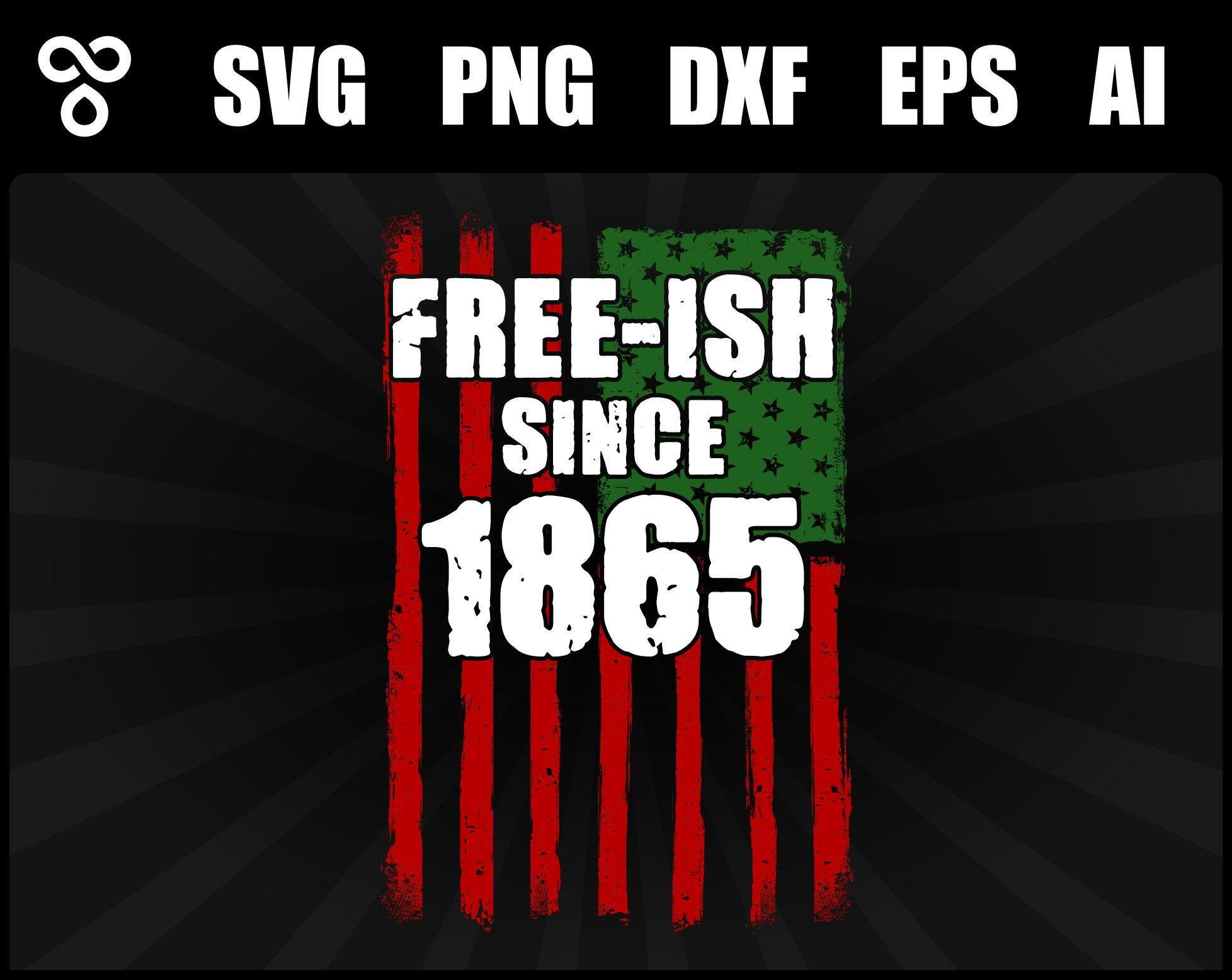 SVG FreeIsh 1865 Distressed USA Flag African