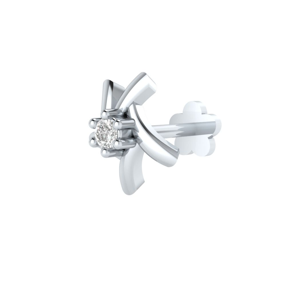 Real 0.06 CT Diamonds Flower Nose Lip Labret Piercing Pin Ring Screw Stud 14k