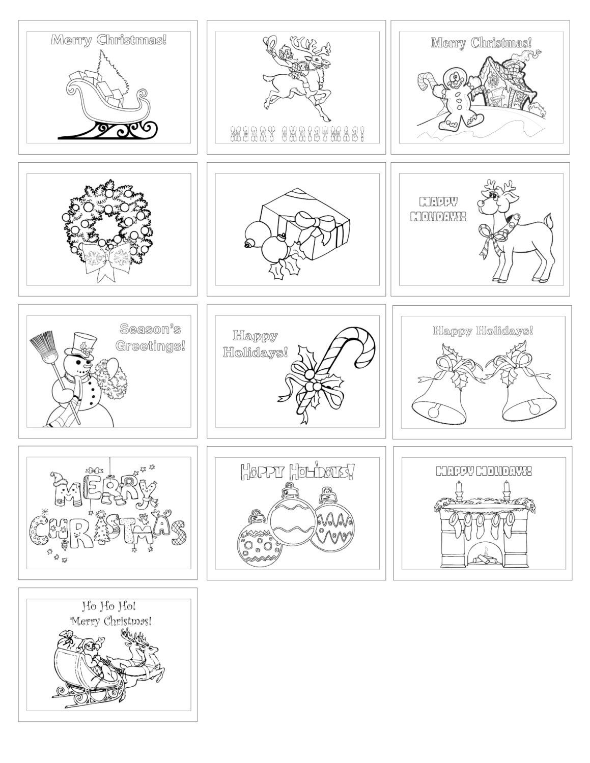 color your own digital set of christmas greeting cards 13 horizontal