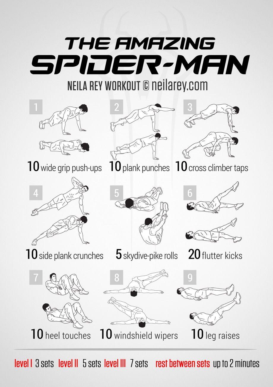 Amazing spider man workout remise en forme pinterest