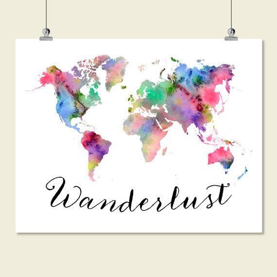 Large watercolor world map wanderlust print printable world map large watercolor world map wanderlust print printable world map wall art decor poster sign sciox Gallery