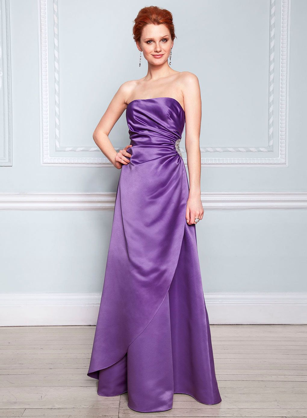 Ella Purple Satin Bridesmaid Dress - purple - shop by colour ...