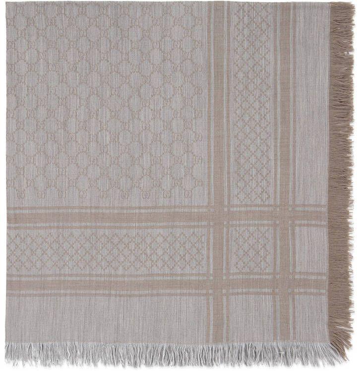 GG jacquard wool silk stole