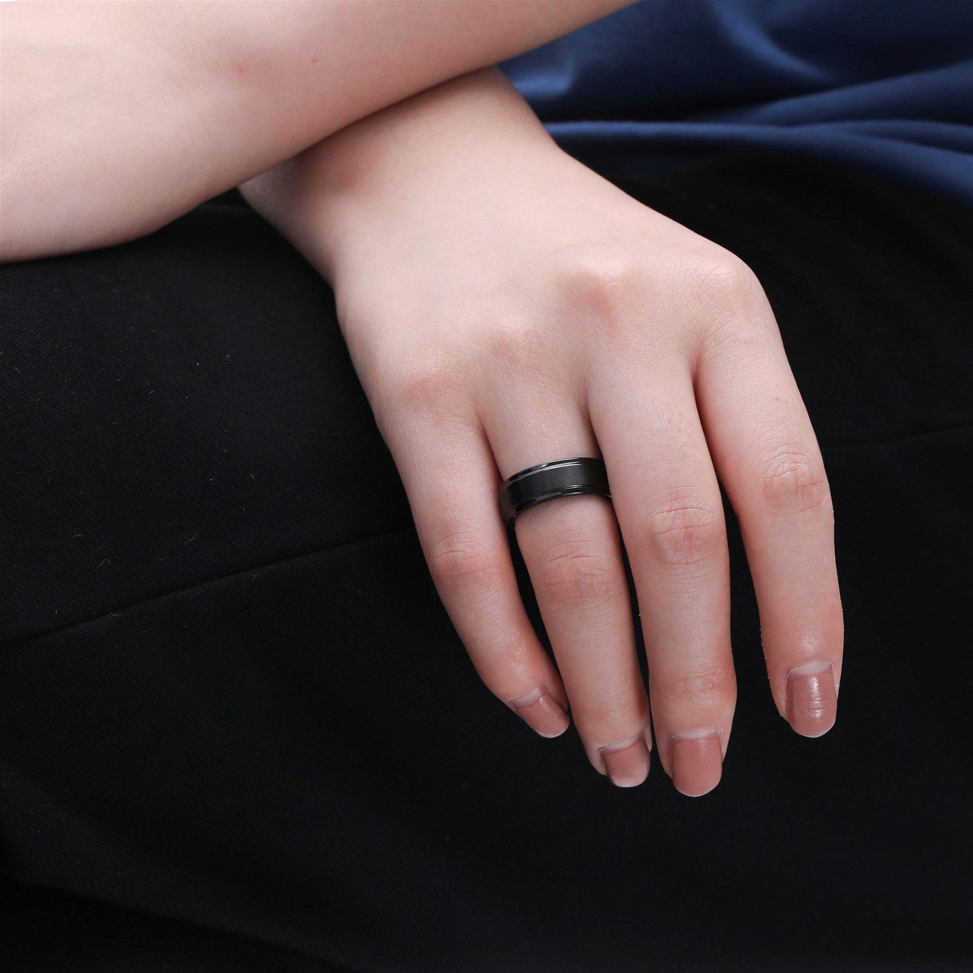 Unique Black Ring Brushed Ring Matte Ring Black Tungsten Ring Men/'s Black Ring Engagement Ring Brushed Black Ring Black Wedding Band