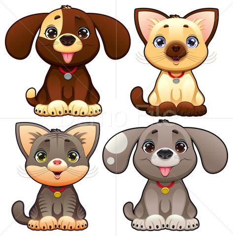 Cute Dogs And Cats Royalty Free Stock Images Stockfuel Cute Cats And Dogs Puppy Cartoon Cute Dogs