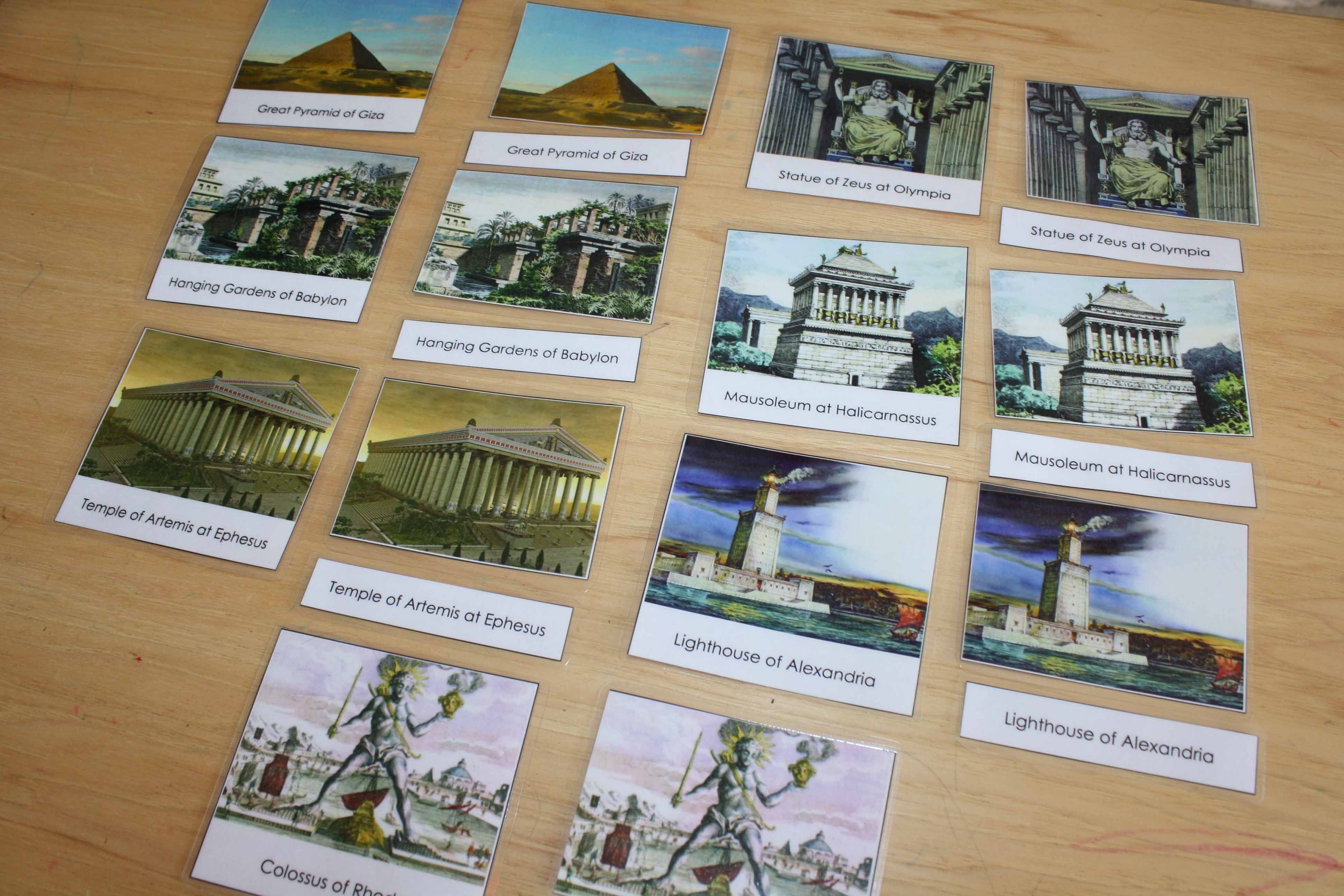 7 Wonders Of The Ancient World In Montessori 3 Part Cards