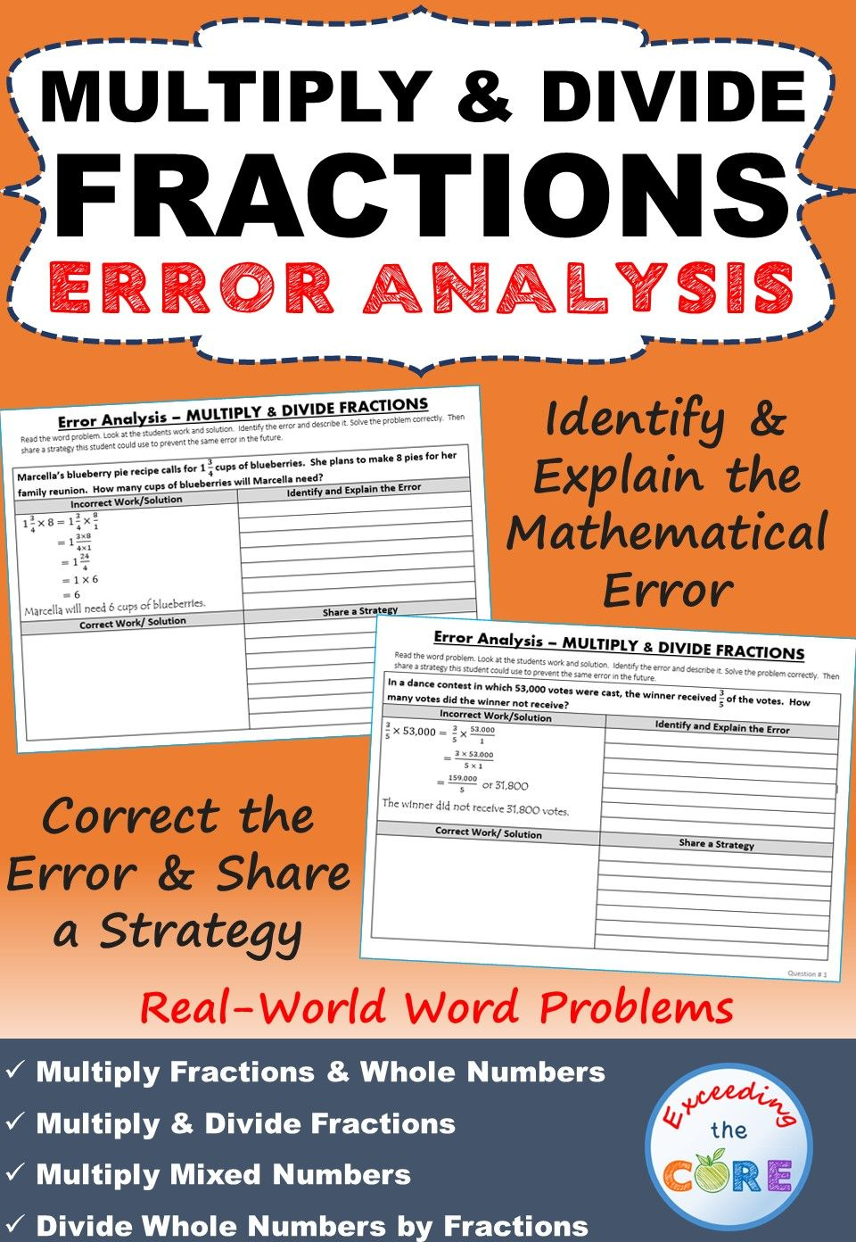 multiply & divide fractions word problems - error analysis (find the