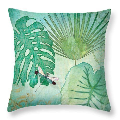Rainforest Tropical Philodendron Elephant Ear And Palm Leaves With Botanical Dragonfly CLH18100717P Handmade Pillowcase #elephantearsandtropicals