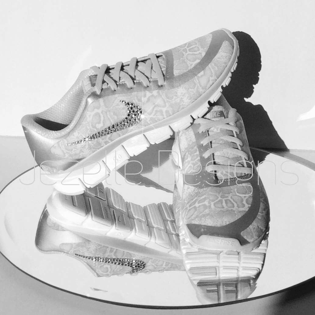 Free Run 5.0 V4 Nike Swarovski Crystal Trainers with Snake Skin Print
