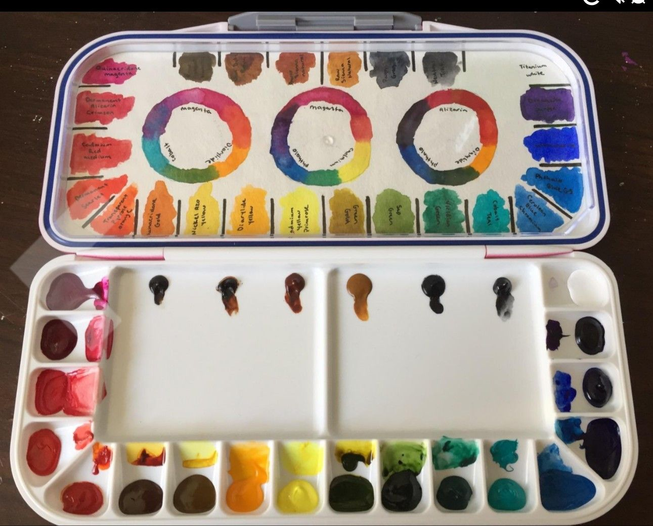 Color Chart On Mission Palette Watercolor Art Watercolor