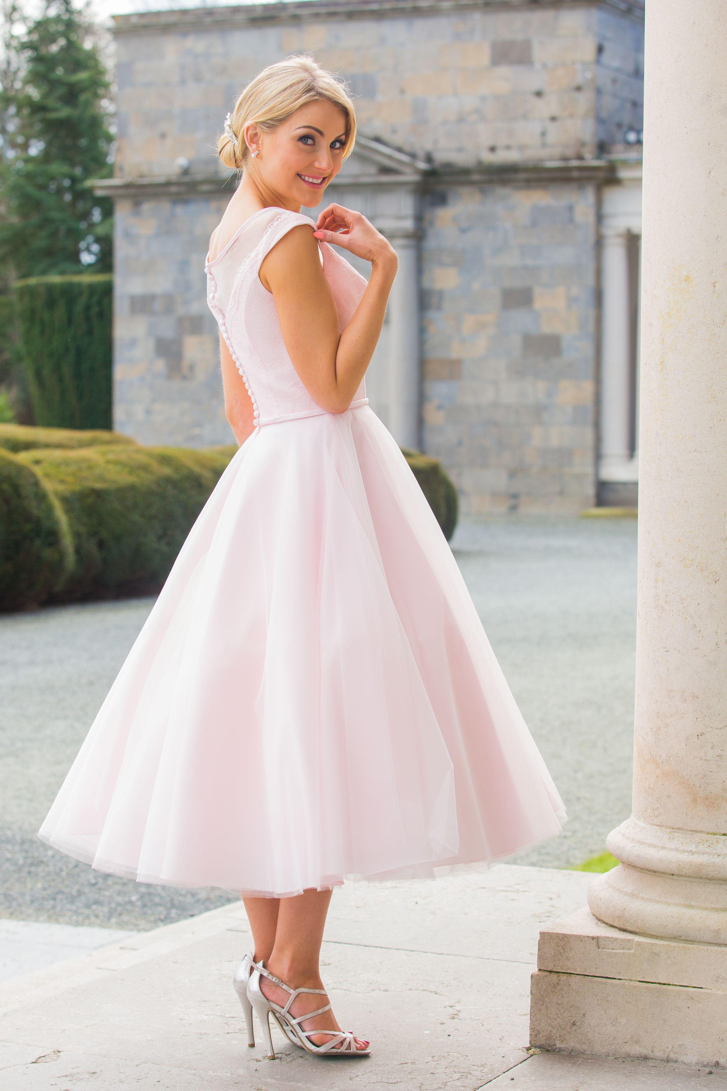 GIRLS VINTAGE STYLE PASTEL PINK LACE TRIM CHIFFON MIDI WEDDING PROM PARTY DRESS