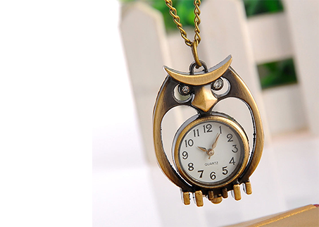New Vintage Owl Shape Quartz Pocket Watch Necklace Pendant Chain Watch