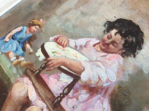 Vintage pintura al óleo retrato de una por NorthernScoutVintage